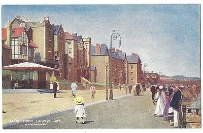 COLWYN BAY Marine Drive, LNWR Railway Official Postcard, Unused