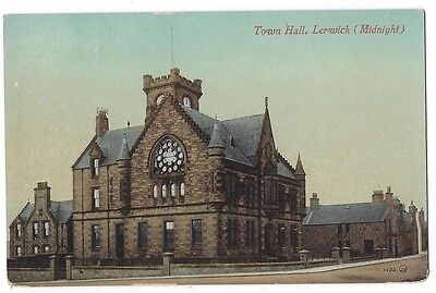 SHETLAND Lerwick Town Hall at Midnight, Old Postcard by Valentine, Unused