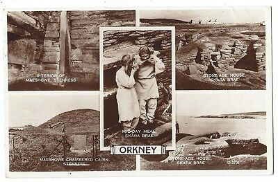 ORKNEY Stenness, Skara Brae, Maeshowe, RP Multiview Postcard Posted 1959