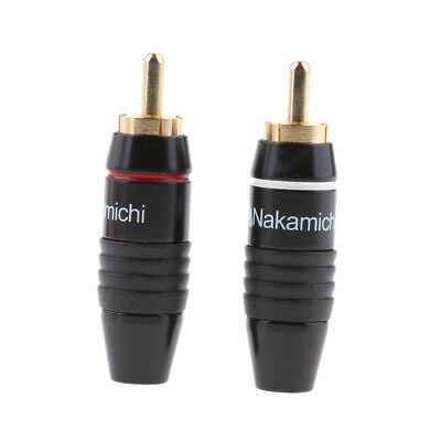 2x RCA Plug Audio Cable Male Connector Gold Plated High End DIY