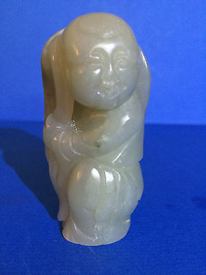 Antique/Qing Chinese carved Jade Boy figure with Lotus