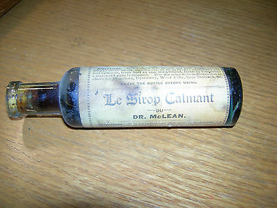 Old Medicine Bottle Dr. McLean Soothing Syrup Le Sirop Calmant