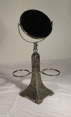 Antique Silverplate Victorian Vanity Shaving Stand Mirror Floral