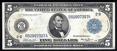 Fr. 849 1914 $5 New York Federal Reserve Note with rare Burke Glass signatures
