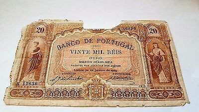 20 mil reis Azores 1905 Portugal banknote extra rare