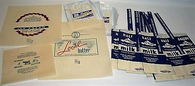 Vtg Mixed Lot of Dairy Advertising Label Butter Wrappers Ice Cream Milk Bags Etc