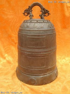 """12"""" Chinese presentability copper Bronze carved fine Buddhism bell Statue"""