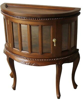 Solid Mahogany Demi Lune Tea Table / Side Table with Tray Antique Repro T057