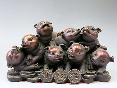 China bronze sculpture carved red copper Feng Shui money lucky eight pigs Statue