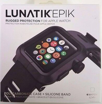 LUNATIK EPIK Case & Silicone Band For 42mm Apple Watch Black EPIK-001