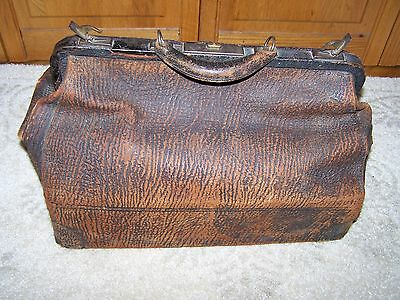 Large Antique Textured Leather Doctor Style Bag