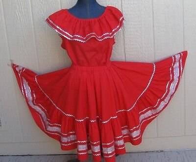 """Ladies 2-pc red with silver trim square dance dress - M-L 23"""" long"""