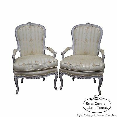 Vintage Pair of Paint Frame French Louis XVI Style Fauteuils Arm Chairs