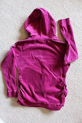Motherhood Maternity velour hoodie zip sweatshirt jacket Small S Magenta cotton