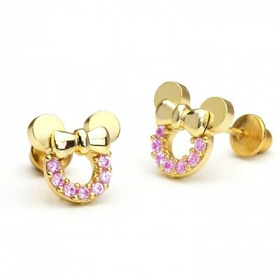14k Gold Plated Pink Minnie Mouse Children Screwback Earring With 925 Silver Pos