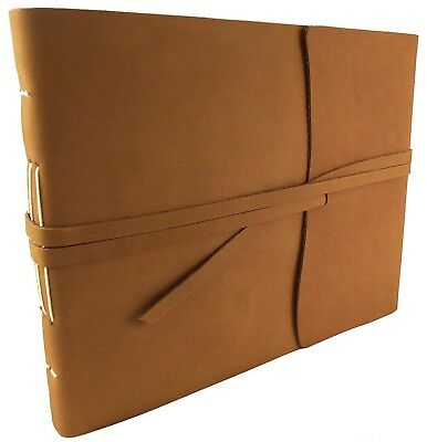 Large Rustic Genuine Leather Photo Album with Gift Box - Scrapbook Style Pages