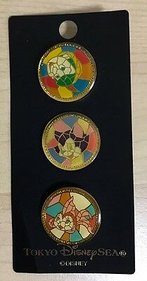 Tokyo Disney Resort Pin Set Stained Glass Pinocchio Figaro Cleo JAPAN TDS Rare!