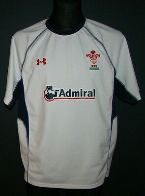 Under Armour Wales WRU rugby jersey Admiral size LG white perfect