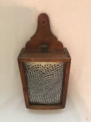 Early Antique Wooden  Punched Tin Hanging Box Grater With Drawer