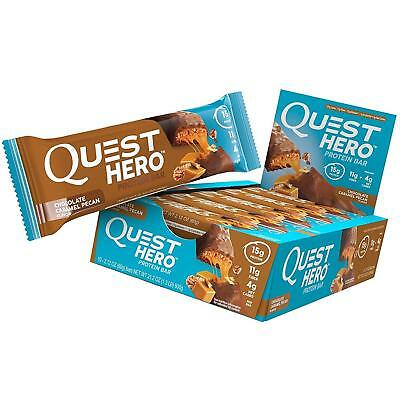 NEW Quest Hero Protein Bar Chocolate Caramel Pecan 10 Count Low Carb Gluten-Free