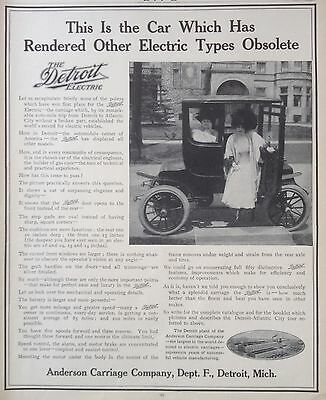 Antique 1909 Ad(F10)~The Detroit Electric Car, Anderson Carriage Co.