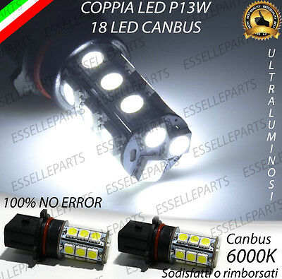 Coppia Lampade P13W 18 Led Drl Luci Diurne 6000K Canbus