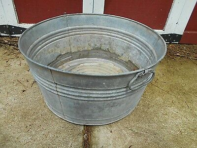 "Antique galvanized washtub 22 1/2"" diameter wash tub planter NICE CONDITION"