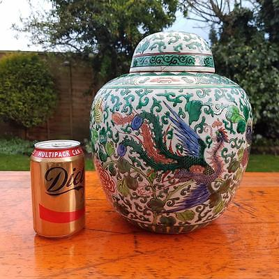 Large Handpainted Antique Chinese Ginger Jar / Vase with Peacock / Flowers