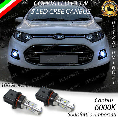 Coppia Lampade P13W 5 Led Cree Drl Luci Diurne Ford Ecosport Canbus 6000K