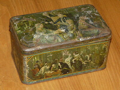 Old Antique Vintage Tin Box  -  7''5/8 x 4''1/2 x 3''3/4 (inches)