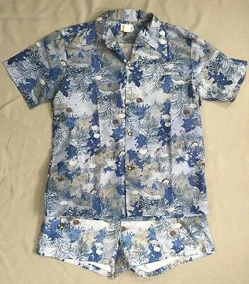Vtg 1970's Andrade Asian Print Hawaiian Shirt & Shorts Swim Cabana Set Blue L XL