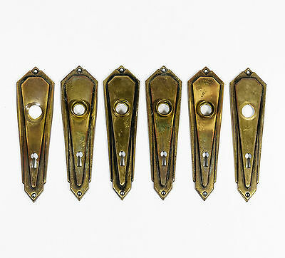 VTG Lot of 6 Brass Escutcheon Skeleton Key Hole Metal Door Knob Backs Plates