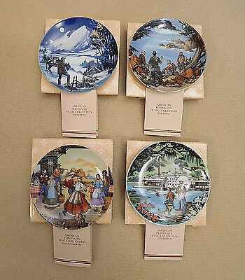 Four (4) Avon American Portraits Mini Decorative Plate Collection, NEW IN BOXES!