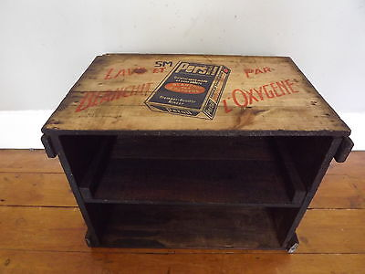 Vintage French small side / bedside table / shelves with advertising imprint