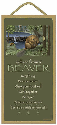 Advice from a Beaver Inspirational Wood Nature Sign Plaque Made in USA