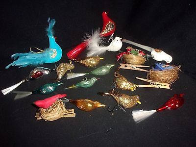 Lot of (17) Vintage Christmas Ornament Birds - Glass, Feather, Nesting, Glitter!