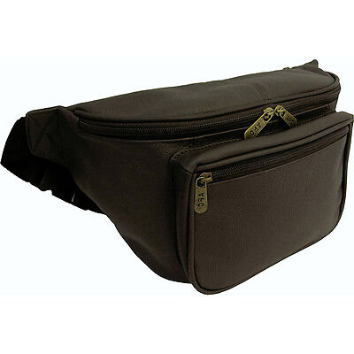 AmeriLeather Jumbo Size Leather Fanny Pack - Dark Brown Waist Pack NEW