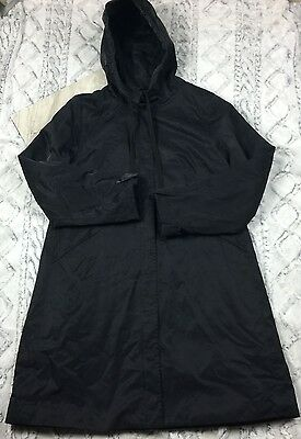EILEEN FISHER Hooded Jacket Parka Long Black Sz S Small