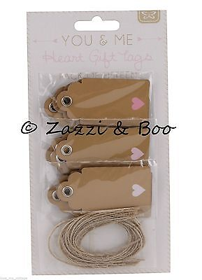 15 Vintage Gift Tags Kraft Blank Luggage Label Twine Pink Love Heart Wedding new