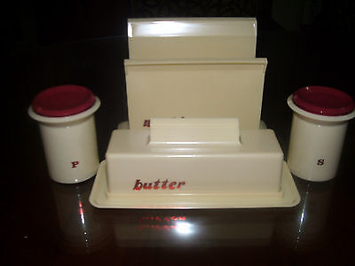 collectable vintage butter napkin and salt and pepper holders kitchenalia