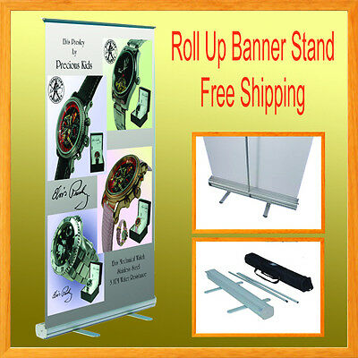 """1 Set Retractable Roll Up Banner Stand Trade Show  33.5"""" x 78"""" Free Shipping"""