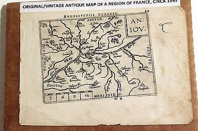 Antique Original Abraham Ortelius Map ANDEGAVENSIS (Region in Anjou) circa 1593