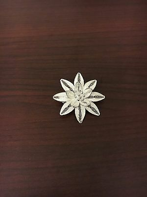 Antique Silver Flower Pin / Brooch Marked 925