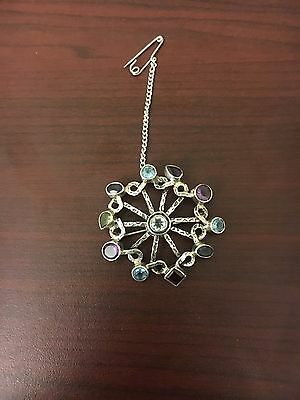 Antique Sterling Silver Brooch With Gems Marked 925