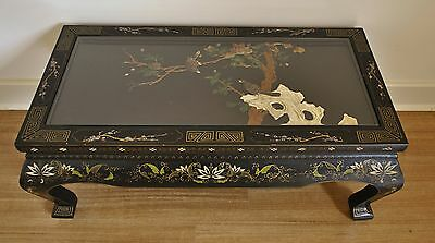 Vintage Chinese Lacquer Coffee Table w Soapstone & Mother of Pearl Inlay