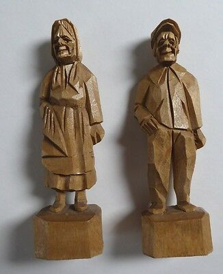 2 Vintage HAND CARVED Wood FIGURINES FOLK ART Man & Woman Souvenirs