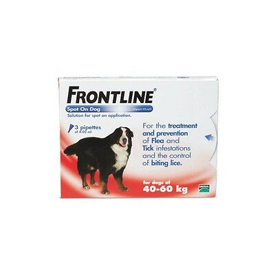 Frontline Spot-On Flea & Tick Treatment Extra Large Dog 40-60kg - 3 Pipettes