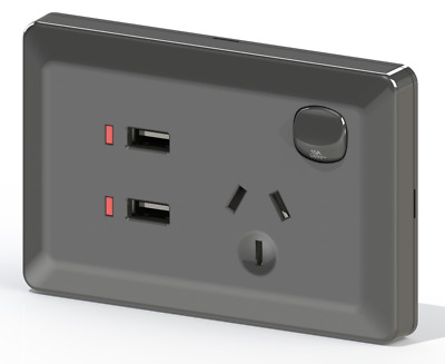 Black Australian Power Point GPO Wall Plate with Dual 2.4A USB Socket Charger