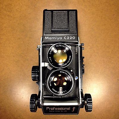 FILM TESTED/NICE VERY RARE Mamiya C220 F 6x6 TLR Camera/80mm Blue Dot Lens/Caps