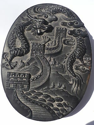 Rare, Antique Chinese Hand Carved Dragon And Chinese Wall Ink Stone